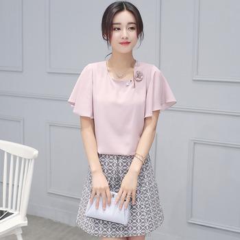 47512aee9692 2016 Korean latest style fashion women ladies girls chiffon slim tops  designer printed wrap tight skirts
