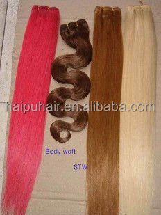 2015 new style cheap straight popular variety of color purple price high quality popular human hair mixed synthetic hair weft