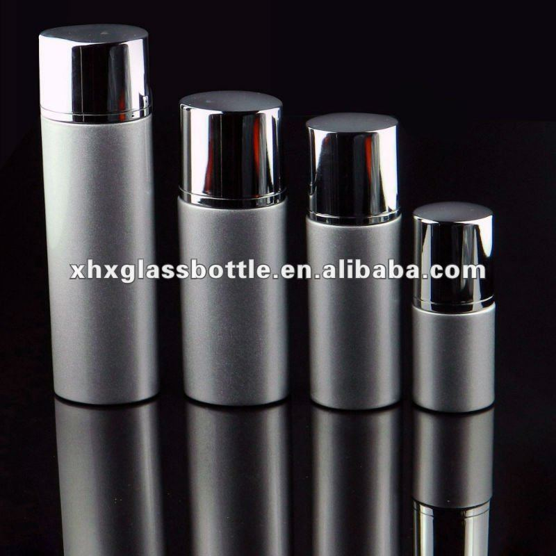 Wholesale Custom Cosmetic Packaging 120Ml Skin Care Series Aluminum Metallic Glass Bottle