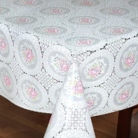 cheap bridal white party city western PVC lace tablecloths for wedding in roll