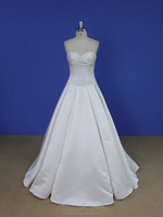 Sweetheart beaded neckline dropped waist satin wedding dress from china