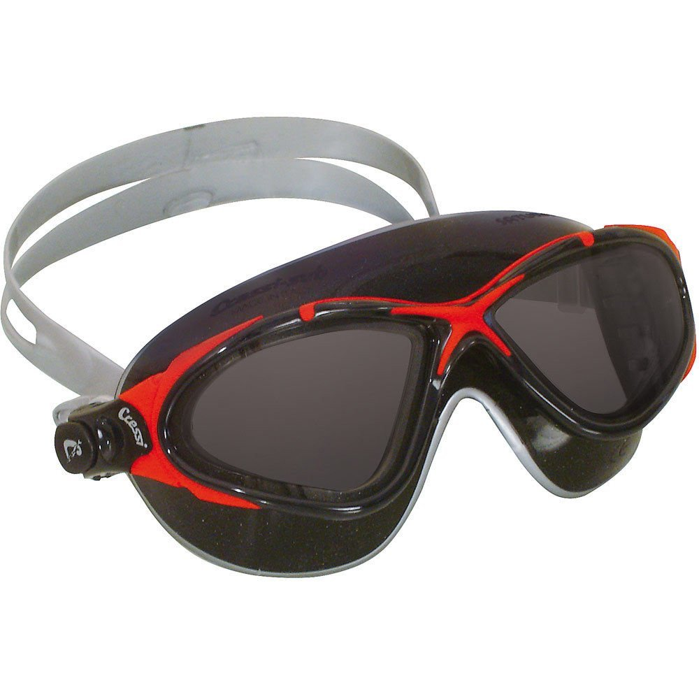 4a664f89e41 Cressi Saturn Crystal UV Protective Silicone Swim Mask Black Red W Tinted  Lens