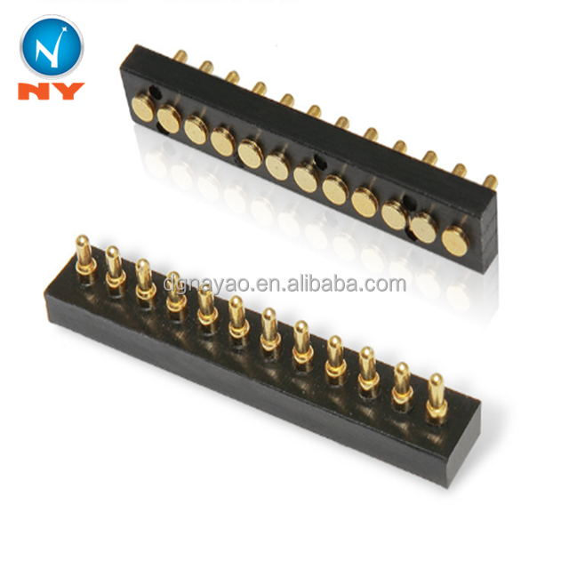 Brass spring loaded power electrical contact 7pin 12pin pogo pin