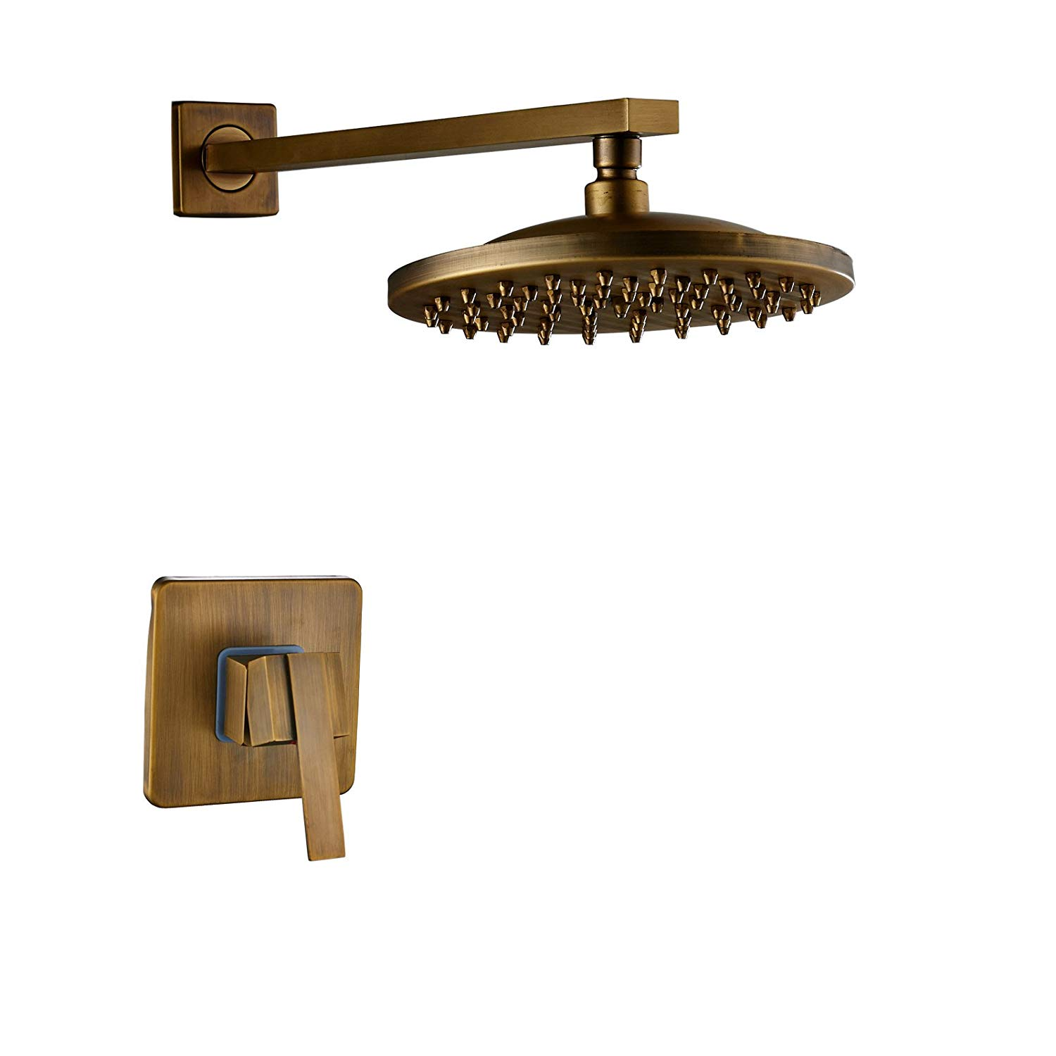 Rozin Antique Brass One-Model Mixer Control 8-inch Rainfall Shower Head Wall Mounted