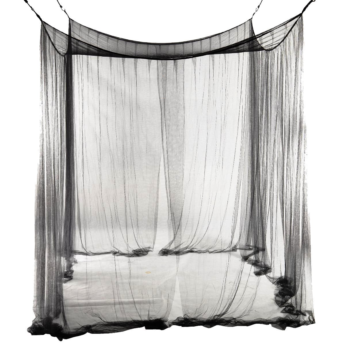 SODIAL(R) 4-Corner Bed Netting Canopy Mosquito Net for Queen/King Sized Bed 190210240cm (Black)