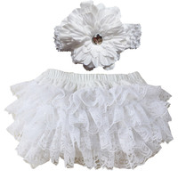 Cute New Baby Girl Bloomers Diaper Cover Headband Set Newborn Ruffle Panties Lace Infant Shorts
