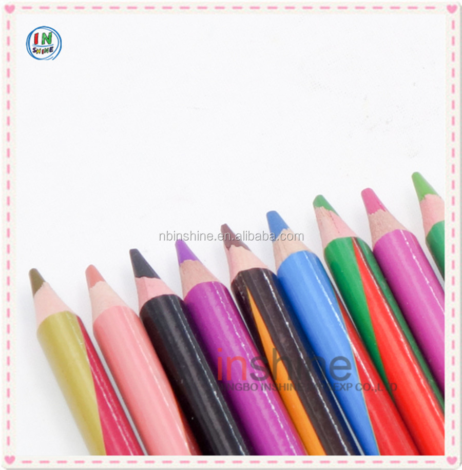 12 pcs wooden double tips color pencils , colorful barrel double ended colouring pencils set