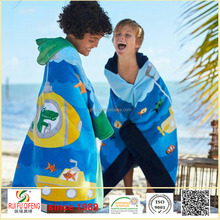 Textile 100% cotton reactived printing kid's hooded beach towel wholesale