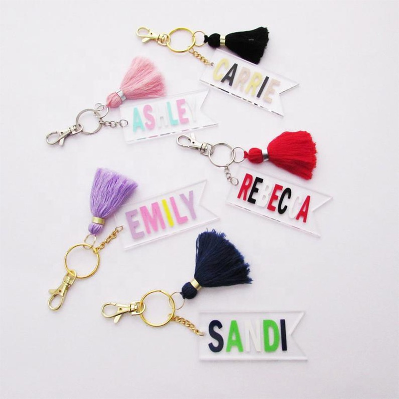 Personalized Acrylic Monogram Flag Keychain with Tassel Key Chain