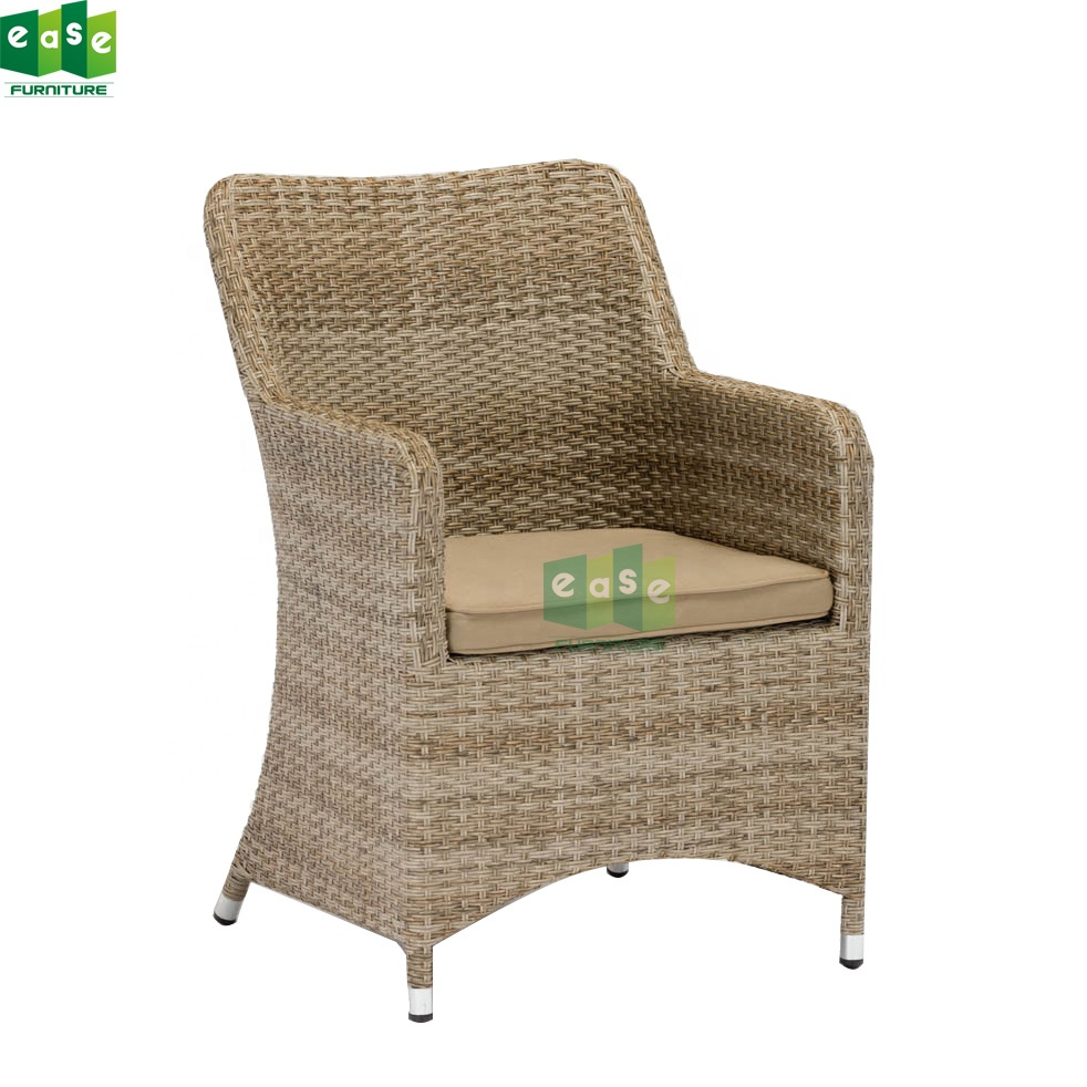 rattan garden patio wicker fabric dining chair for outdoor restaurant