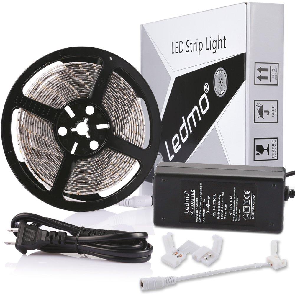 LEDMO LED Strip Light Kit,Warm White 3000K,300LEDs IP65 Waterproof Light Strip+12V 5A Power Supply
