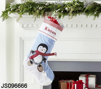 Christmas stocking hanging, with Snowman decoration, Christmas gifts