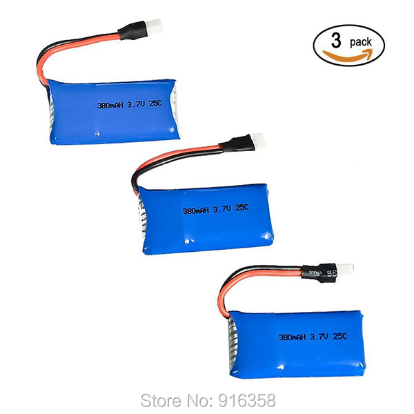 3pcs Upgraded 25c 3.7v 380mah Lipo Battery For Syma X11 X11c Hubsan X4 H107c