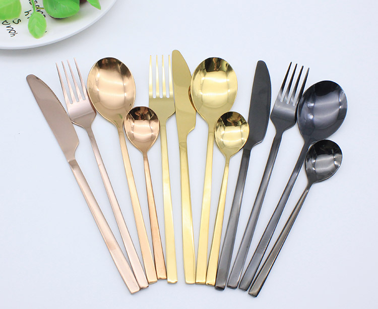 Food grade luxury cutlery rose gold  stainless steel flatware set  for restaurant