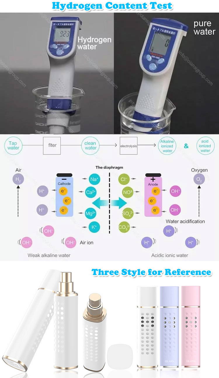 Long-lasting Electrolysis Spray Fine Mist Hydrogen Rich Water Spray Bottle for Delay aging