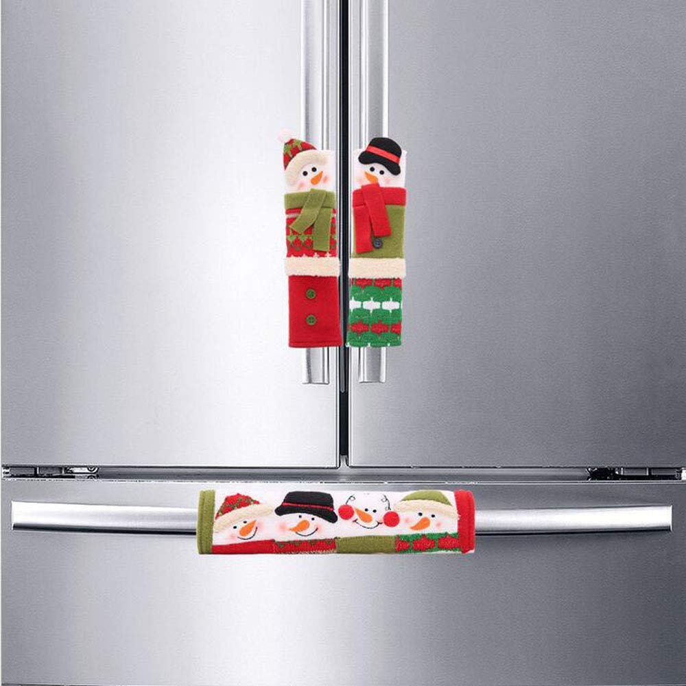 Mehome Christmas Kitchen Appliance Handle Covers Decorations Set-Santa Claus/Snowman Handle Covers+Snowman Clings- Kitchen Appliance Decals