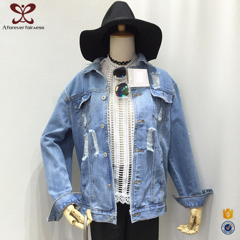 2017 Latest Fashion Design Lady Outdoor Casual Women Blue Ripped Short Jean Wholesale Denim Jacket