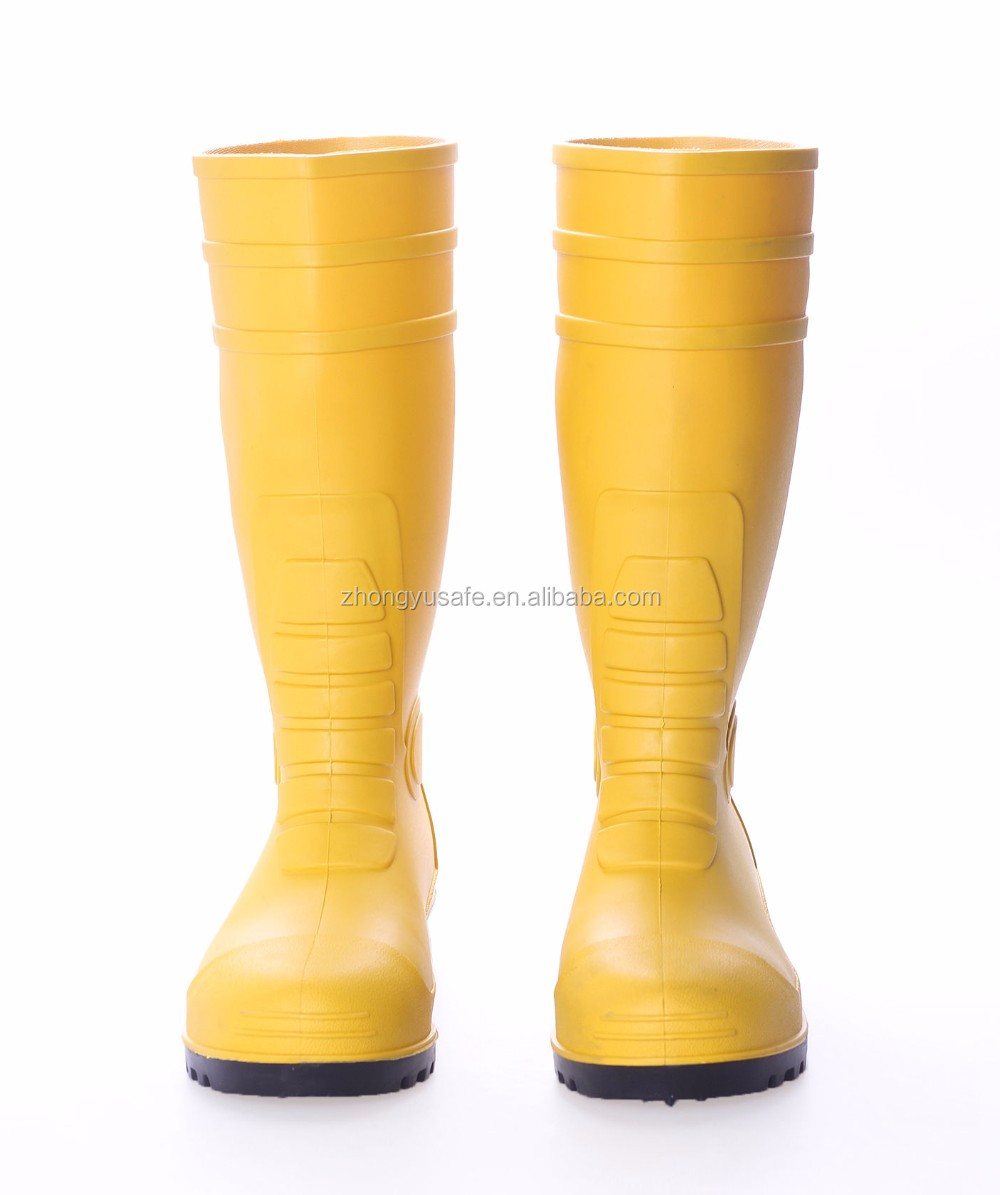 87bcac5e41f6 Yellow PVC Water Rainboots   Working Rubber Shoes   Safety Rain boots with Steel  Toe