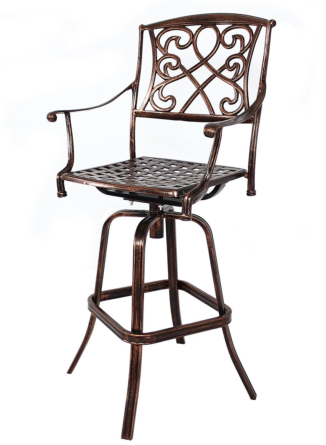 d37962bc1b3 Get Quotations · HOMEFUN Outdoor Swivel Bar Stools Cast Aluminum Bistro Pub Patio  Bar Height Chairs (Antique Bronze
