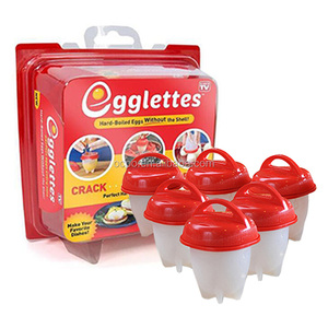2018 NEW Hot Sell Egglettes- Red Top Get Hard Boiled Eggs Without Shell Egg Cooker Boiler 6 Pc Set tool