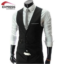 2015 New Arrival Men Suit Dress Vests Men's Fitted Leisure Waistcoat Casual Business Jacket Tops Three Buttons free shipping