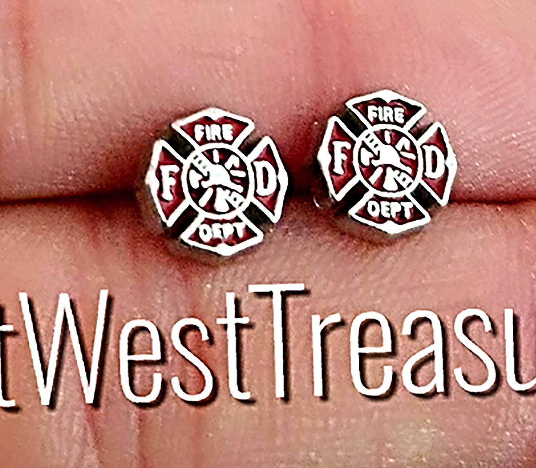 ff2037bc2 Get Quotations · EWT steel Small Minimalist Firefighter Maltese red cross  stud earrings-minimalist earrings-Girls women
