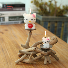 Handmade Vintage Christmas Driftwood Candle Holder Wooden Crafts Decoration