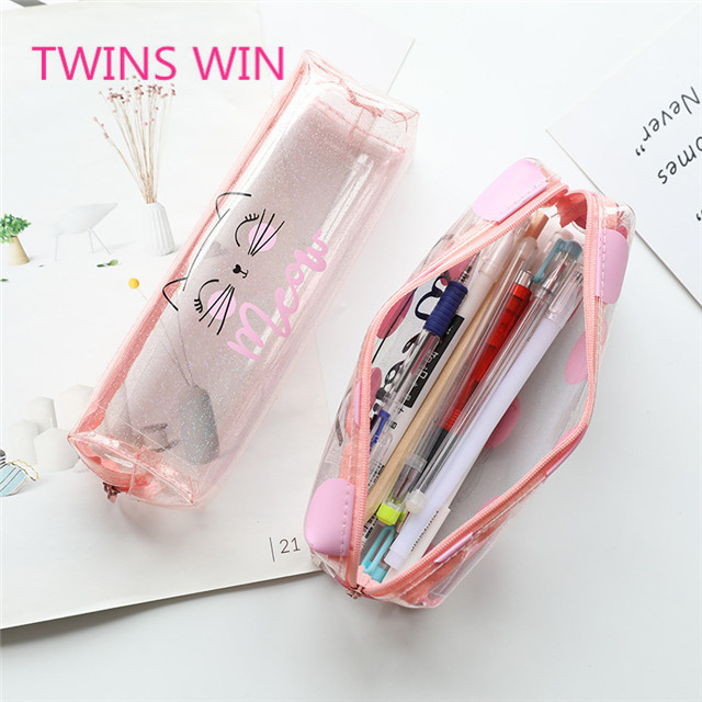 China Manufacturer Factory price stationery Wholesale Custom students colorful standing cartoon cute pvc zipper pencil case 784