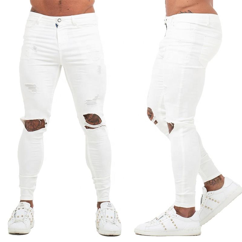 Gingtto los hombres pantalones jeans hombres skinny jeans vaqueros de los hombres ropa de calle pitillo blanco destruir washed slim fit stretch calzoncillos