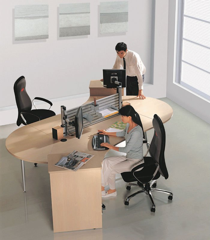 LK-2076 Hot Sale Modern Secretary Office Furniture S Shape Office Computer Workstation
