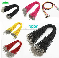 2015 Wholesale adjustable Stock cheapest rubber Braid Leather Cord Lobster magnetic Clasp Chain Necklace