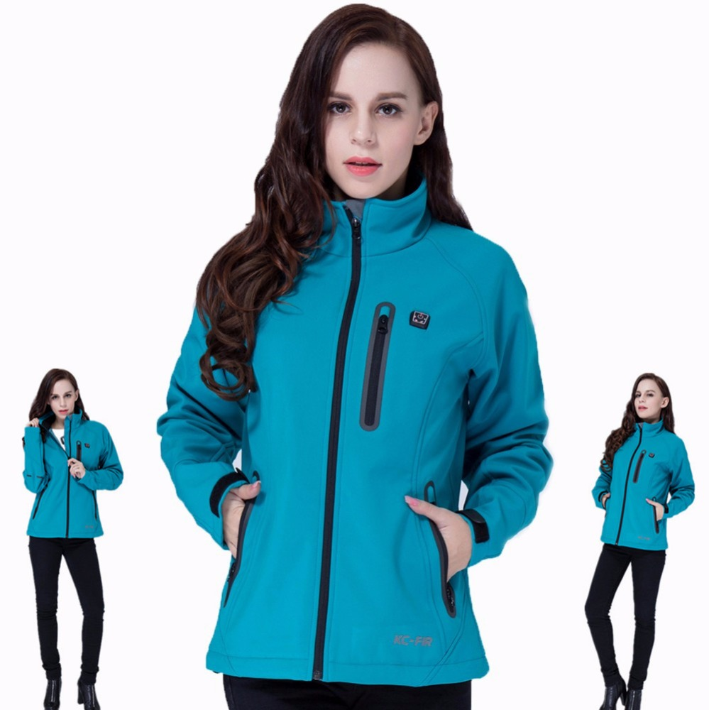 2017 Factory Customized 7.4V 5200mah Rechargeable Li-ion Battery Polyester Women Electrical Jacket Winter Ski Heated Jacket