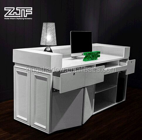 White reception desk free standing counter hotel reception for Salon equipment manufacturers