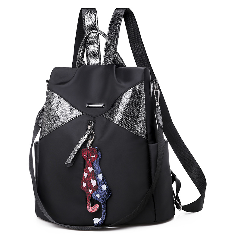 Europe Fashion Joint Sliver Sequin Backpack Black Oxford Waterproof Women's Bag Backpack with Pendant