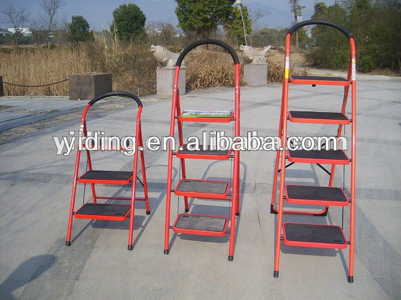 3step folding chair ladder, Steel Step Ladder collapsible, rubber feet step ladder,