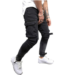 Stock high quality cool side pocket jeans men skinny pants