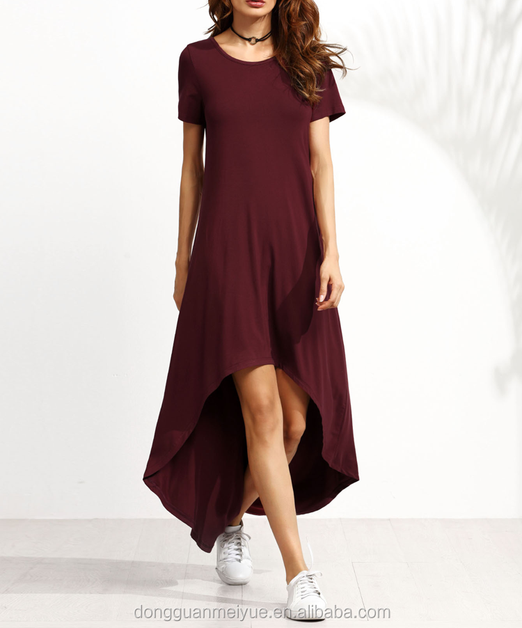OEM Clothing Factory New Style Burgundy Short Sleeve A Line High Low Ladies Dress