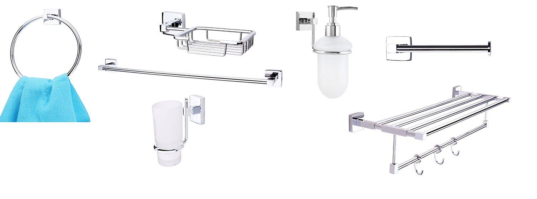 KRM Combo 7- Solitaire Towel Ring+ Towel Rod+ Soap Dish+ Tumbler Holder+ Toilet Paper Holder+ Towel Rack+Soap Dispenser - Pure Brass