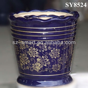 Awesome Lace Design Golden Pattern Large Glazed Ceramic Garden Pots With  Large Glazed Garden Pots