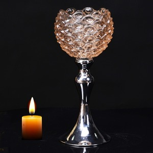 fashionable pineapple shape glass cup metal stand candle holder centerpiece for home decoration