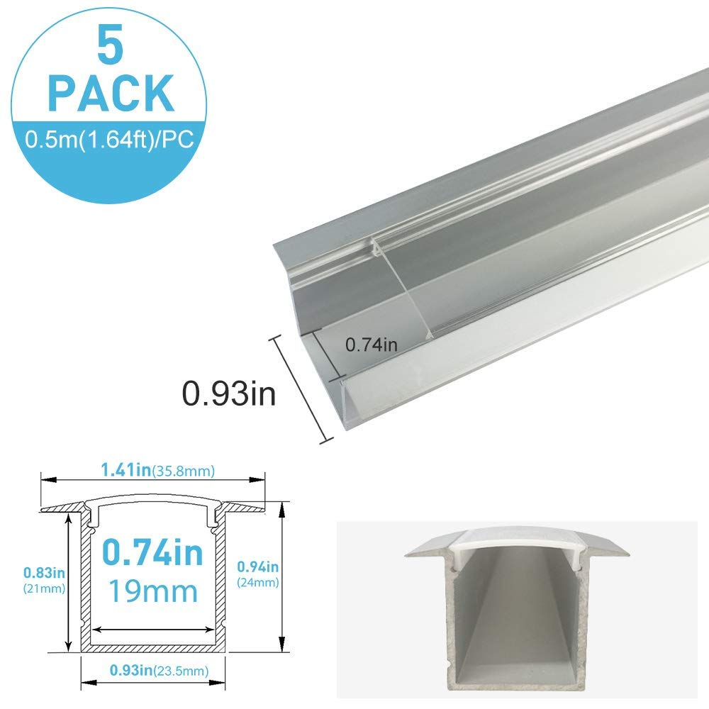 inShareplus U Shape LED Aluminum Channel System With Transparent Cover, End Caps and Mounting Clips, Aluminum Profile for LED Strip Light Installation, U05 Model, 5 Pack, 1.64ft/0.5 Meter, Silver