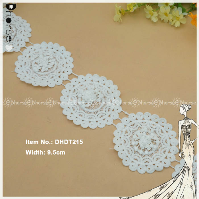 9.5cm wide round flower lace applique polyester water soluble lace trim for wedding dress DHDT215