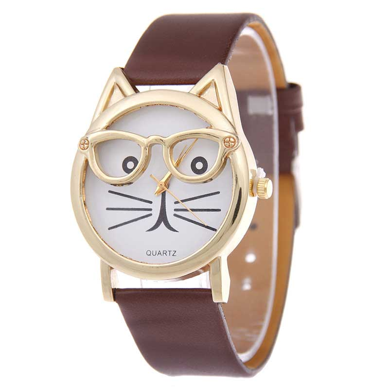 Fashion Neutral Lovely Cute Cat Face Leather cartoon Quartz Watch Women Dress Wrist Watch