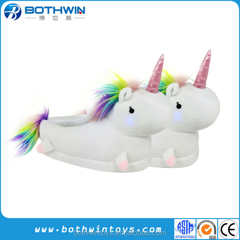 Custom LED grow lighting rainbow unicorn indoor <strong>slippers</strong>