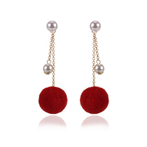 2017 Hotsale pompom tassel earrings women stud winter earring accessories