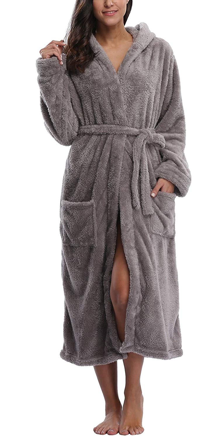 3bf1787b77 Get Quotations · WitBuy Women s Fleece Bathrobe Long Hooded Robes Plush  Nightgown Cotton Spa Robe
