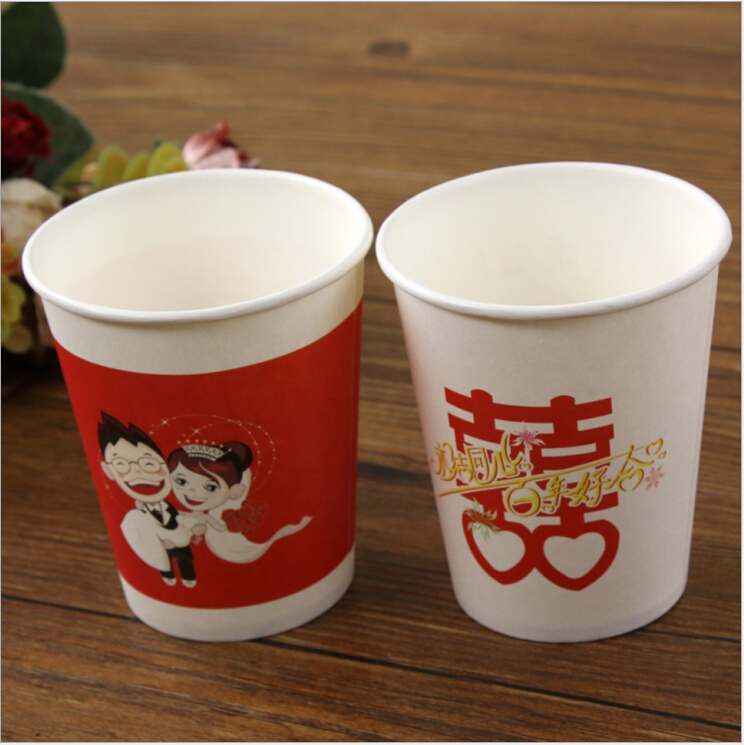 Eco Friendly Round Festive Paper Cups, Disposable Printed Paper Cups Wedding Party Suplies