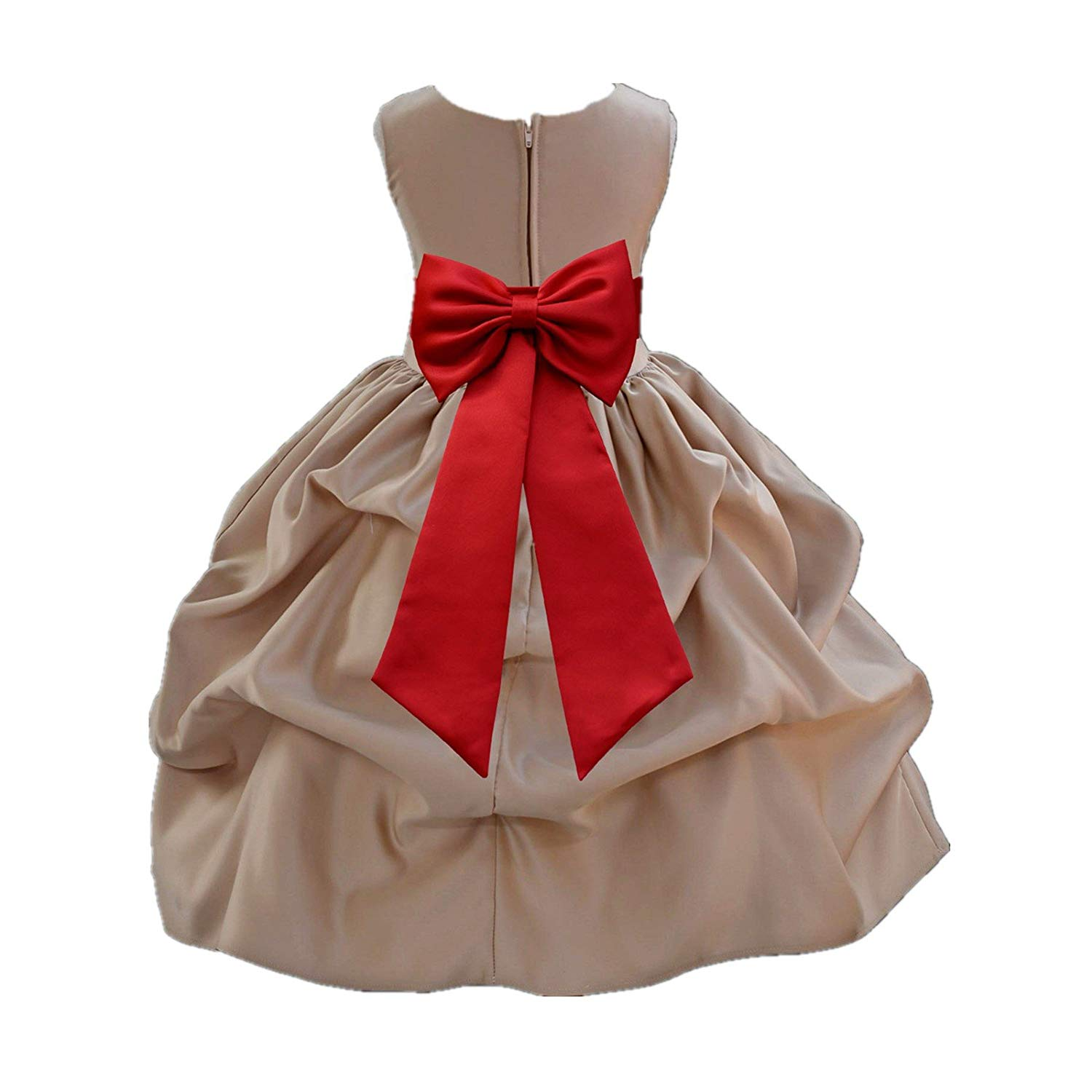 56597d8f5b3 Get Quotations · ekidsbridal Champagne Satin Bubble Pick-Up Flower Girl  Dresses Easter Summer Dresses 208T