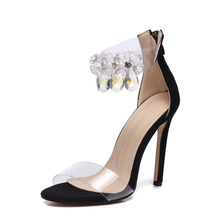 f7d3a4e63f cheelon shoe 2018 new model summer crystal beads ankle strap ladies sexy high  heeled clear sandals, View clear sandals, cheelon shoe Product Details from  ...