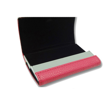 Unique red pu leather match stainless business name card holder leather card holder